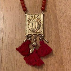 Calypso St. Barth Gold Coral Tassel Necklace